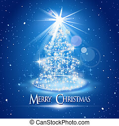 Christmas tree and light over blue background