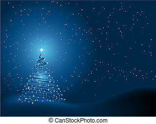Sparkly Christmas tree on a snowy night