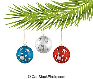 Christmas tree with colorful balls on a white background.