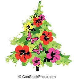 Christmas tree with flowers, on a white