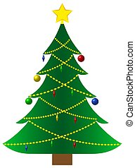 Christmas tree with garlands on a white background