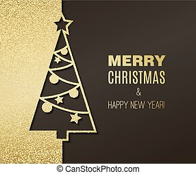 Vector Christmas tree with gold glitter effect. Holiday background