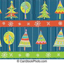 Christmas trees seamless winter knitting pattern funny