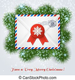 Christmas white envelope with red wax seal and postal stamp.