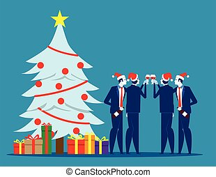 Christmas with friends. Concept business vector illustration, Holiday, Social Event, Drink.