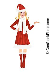 Christmas woman in red coat holding something, vector
