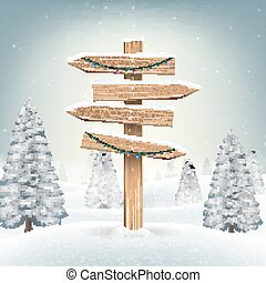 christmas wood direction board sign in snow forest