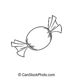 Christmas wrapped candy. Outline of packaged sweet, goody in a piece of paper. Vector illustration isolated on a white background.