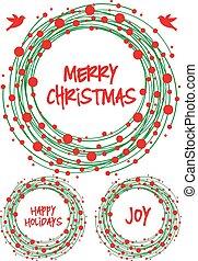 Christmas wreath, vector set