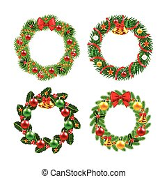 Christmas wreath vector set