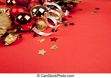 christmass decorations on red