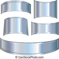 Chrome Metallic plates, vector illustrations set