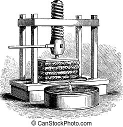 Cider Press, vintage engraving. Old engraved illustration of a Cider Press.