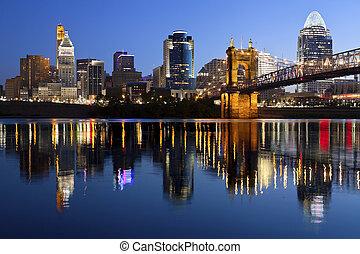 Image of Cincinnati and John A. Roebling Suspension Bridge at twilight.