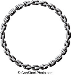 Steel chain coiled in a circle isolated on white background