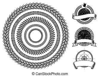 Circle frame and emblems elements design, Vector layered.