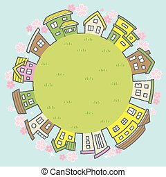circle frame of houses with the cherry blossoms - background is sky and grassy plain -