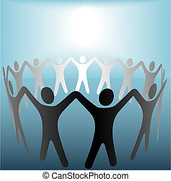 A group of Symbol People hold up arms to form a ring or team under a bright spot of copyspace.