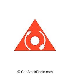 circle rotation arrow spoon fork logo vector