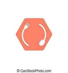 circle spoon fork hexagon logo vector