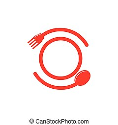 circle spoon fork plate round logo vector