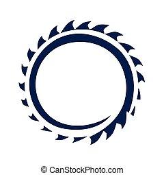 circular saw blade illustration, icon design, isolated on white background.