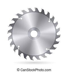 Metal blade of circular saw on white background
