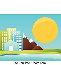 City in mountains on seacoast. A vector illustration