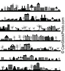 Collection of city landscapes. A vector illustration