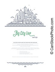 City landscape template. Thin line Cityscape, Downtown or Business district with high skyscrapers. Outline style vector illustration on white background