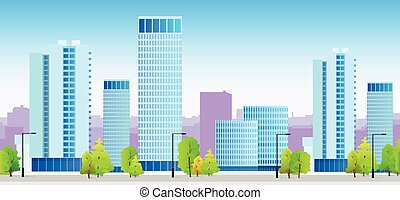 city skylines blue illustration architecture modern building cityscape vector