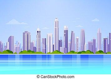 City Skyscraper View Cityscape Background Skyline Panorama Flat Vector Illustration