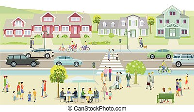City with houses and traffic, pedestrians on the sidewalk - illustration.eps