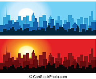 Abstract vector illustration of the outlines of a city against the dawn and dusk sky.