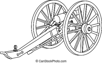 Line drawing of a civil war cannon.