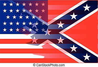 The flag of the opposing sides during the American Civil War