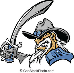 General or Civil War Soldier Cartoon Vector Mascot Holding a Sword