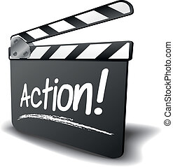 detailed illustration of a clapper board with action term, symbol for film and video