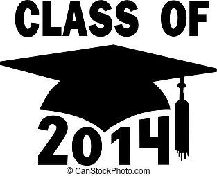 Mortar board Graduation Cap for a College or High School graduating Class of 2014.