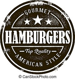 Vintage hamburger graphic in distressed style