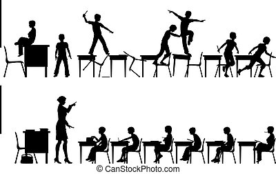 Editable vector silhouettes of two classroom scenes with all elements as separate objects