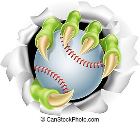 An illustration of a claw hand holding a baseball ball ripping out of the background