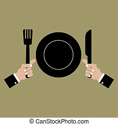 Clean Plate with Knife and Fork.