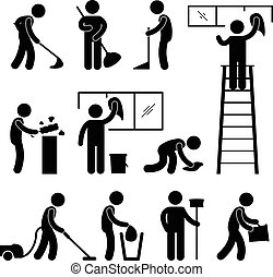 A set of human figure and cleaner working on their duties.