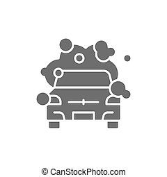 Vector cleaning car grey icon. Symbol and sign illustration design. Isolated on white background