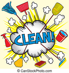 Cloud burst explosion with cleaning equipment for business or household