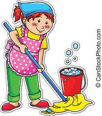 happy girl washing the floor