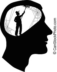 Male profile with a silhouette of a person, cleaning cobweb inside the brain, vector illustration, EPS 8, no white objects