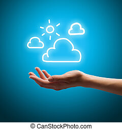 Close up of human hand holding clouds