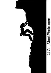 Silhouette of a woman free climbing